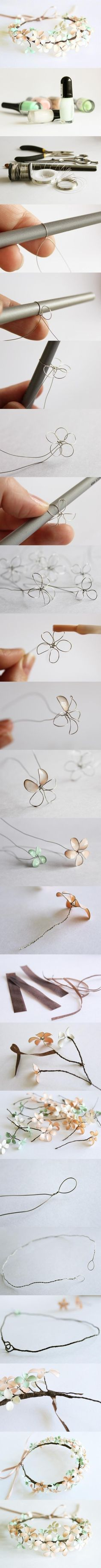 Amazing! Make beautiful flowers from wire & nail polish!! There were no original written instructions, but for those looking for some: http://soresoftheopenheart.tumblr.com/post/75313399661/how-do-you-make-the-flowers-for-the-flower-crown-like