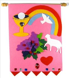 1st communion banner  *{Miss J wants a rainbow on her banner}