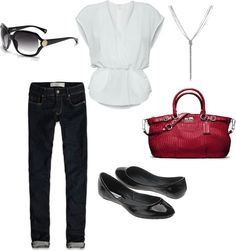 Weekend casual, created by mddwolfram on Polyvore----needs red shoes