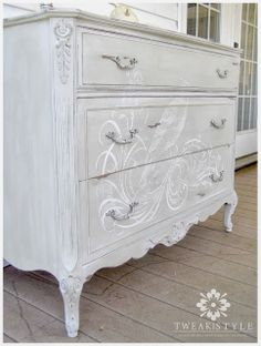 how to add a hand painted element to your next furniture make over, painted furniture, White waxed dresser with hand painting Grey Furniture, Paint Furniture, Plywood Furniture, Furniture Makeover, Furniture Design, Decoupage Furniture, Funky Furniture, Diy Furniture Projects, Upcycled Furniture