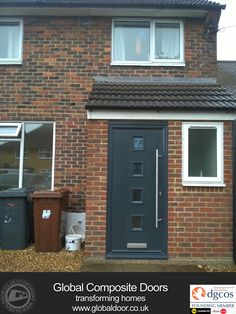 Grey Front Door Composite Free Credit New Ideas House Front Porch, Front Porch Design, Screened In Porch, Front Porches, Porch Uk, Brick Porch, Porch With Toilet, Porch Extension With Toilet, Grey Front Doors