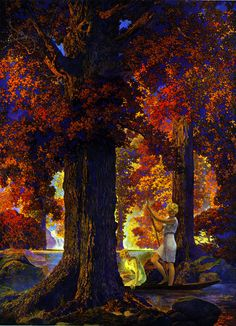 Golden Hours or Only God Can Make a Tree by Maxfield Parrish, 1929