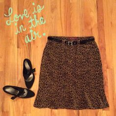 "Leopard Print Denim Corduroy Skirt Ooh La La. . Cute and Casual. By : Kikit Jeans. Leopard Print corduroy skirt with 6"" Ruffle hem. Front and back pockets. NWOT   Measures laying flat, waist, 6"" and length is 23"" Kikit Jeans Skirts"