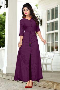 Kurti designs - (If Stitching is not required) Kurti Designs Party Wear, Kurta Designs, Blouse Designs, Kurti Patterns, Ethnic Dress, Indian Designer Wear, Designer Dresses, Fashion Dresses, 50s Dresses