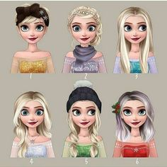 Which Elsa's hairstyle is your favorite? Best of Disney Art by Linnéa (@pastel.ette)