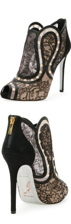 Rene Caovilla peep-toe lace boot actually no - these are the most beautiful shoes i've ever seen