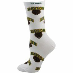 #Baylor Bears Ladies White All-Over Logo Mid-Calf Socks // #SicEm