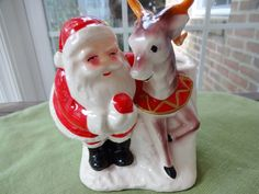 Vintage Santa and Reindeer Planter - Vintage Christmas Decor - Jolly Old St. Nick with Reindeer - Mid Century Santa Claus - 1950's Santa