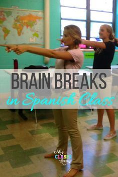 A huge collections of Brain Breaks in Spanish Class. Get students up and moving in Spanish class! Spanish Lessons For Kids, Spanish Basics, Spanish Games, Spanish Lesson Plans, Spanish 101, French Lessons, Spanish Classroom Activities, Spanish Teaching Resources, Spanish Language Learning
