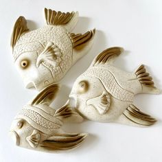 Chalkware Vintage Fish Bathroom Plaque Wall Set - Chalkware | eBay