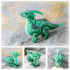 Mini Dragon - Green by dallia-art  Dragon with movable legs and wings. Height – 3.5cm Length - 4cm. Colored polymer clay, no paint.
