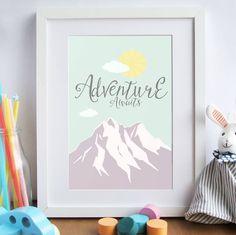 'adventure awaits' nursery art print by rory & the bean creative print shop | notonthehighstreet.com