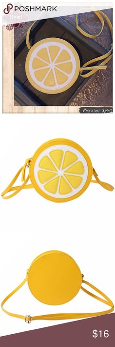 "Lemonade lemon round cross body purse bag New! Features: Cute Yellow Lemonade lemon round circle cross body or shoulder purse cell phone / wallet bag satchel. Zipper, adjustable strap, PU leather. Small size: 7"" diameter, 2"" depth. Unbranded Bags"