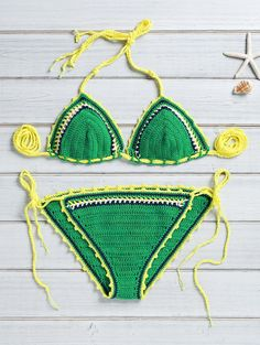 Charming Crocheted String Bikini Set
