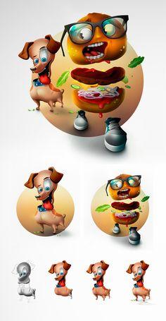 """LIVE BRIGHTLY FRIEND"" (dog/burger), Kostya Stupar on ArtStation at https://www.artstation.com/artwork/kKgDK"