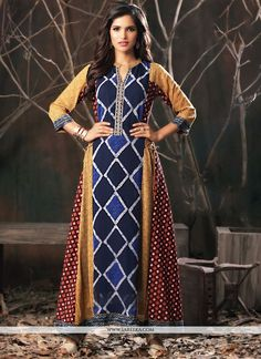 This multi colour cotton party wear kurti is including the wonderful glamorous showing the feel of cute and graceful. The ethnic print work within the attire adds a sign of elegance statement to you. Long Kurtis, Kurti Patterns, Girls Dresses, Flower Girl Dresses, Traditional Fashion, Indian Outfits, Indian Clothes, Indian Designer Wear, Ethnic Print