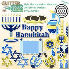 Hanukkah paper clipart with a touch of glitter is in store! Whether you spell it Hanukkah, Hannukah, or Chanukkah, make your classroom newsletters, lesson and unit plans, games, manipulatives, and TPT seller products colorful with this spirited set of clipart!Light the Hanukkah Menorah clip art includes 31 glittery, Jewish inspired images in both color and blackline in png (transparent background) format.