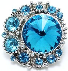 Blue Rhinestone Silver 20mm Snap Charm Interchangeable For Ginger Snaps Jewelry #Handmade #Interchangeable