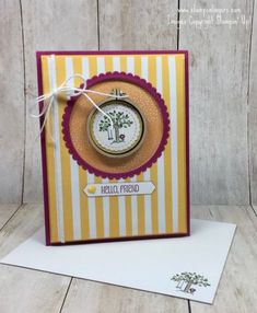 Stamps-N-Lingers.  I used the truly adorable new stamp set called A Good Day and some Tutti-Frutti DSP to make this sweet thank you card!  And check out that Mini Embroidery Hoop embellishment!!  For free instructions on how to make this card, please visit my blog at:  https://stampsnlingers.com/2018/01/04/stampin-up-a-tutti-frutti-good-day-for-the-happy-inkin-thursday-blog-hop/