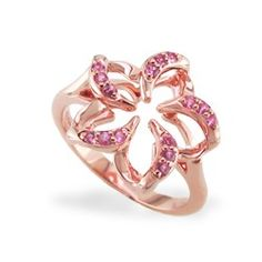 Rose Gold Floating Plumeria Ring with Pavé Sapphires #hawaiian #jewelry