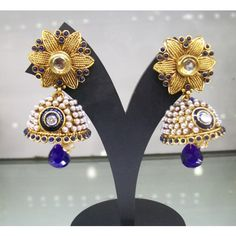 Perfect Traditional Jhumkas in Deep Blue