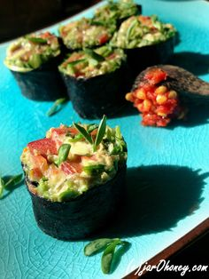 Guacamole rolls - or use the Nori as chips for the guacamole - much healthier than actual chips.