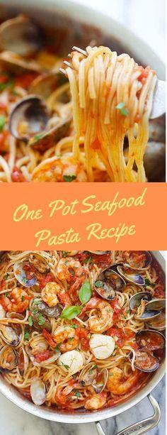 One Pot Seafood Pasta Recipe - Seafood Recipes Seafood Pasta Recipes, Ramen Recipes, Easy Pasta Recipes, Beef Recipes, Healthy Recipes, Noodle Recipes, Cheese Recipes, Salad Recipes, Yummy Recipes