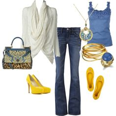 Love that white top and the blue/yellow.