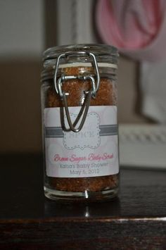 Girls are made with sugar and spice and everything nice! Brown Sugar Body Scrub from a Pink Baby Shower #pink #babyshower  What a great idea for a gifts/prizes for baby shower games!! awesome ideas for nene pink girl baby shower