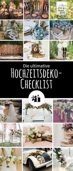 Wir haben eine praktische Checklist für echte Hochzeits-Perfektionisten erstellt, mit allen Dingen in Sachen Hochzeitsdekoration, die so typischerweise anfallen. Einfach kostenlos als PDF downloaden, in Eure Hochzeitsmappe geben und Stück für Stück abhaken. So behaltet Ihr den Überblick.