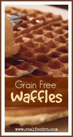 Grain-free Waffles. Easy and delicious. Just like the waffles you get at your favorite restaurant, without the gluten! They area a kid favorite at our house and I make huge batches and freeze them. Simply pop one in your toaster and you have a healthy breakfast in minutes!  Perfect for busy school mornings! realfoodrn.com