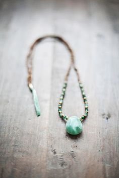 SALE 25% OFF / Mixed Media Boho Necklace Pendant /  Green - Golden - Brown Necklace /  Gemstone Necklace / Green Nekclace /