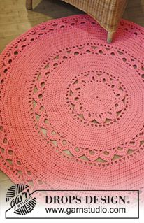 "DROPS Design ""Edith"" doily rug, free pattern with two sizes given. Uses aran yarn & hook size 'L' Diy Tricot Crochet, Crochet Doily Rug, Crochet Rug Patterns, Crochet Carpet, Crochet Amigurumi, Crochet Round, Free Crochet, Crochet Summer, Crochet Flowers"