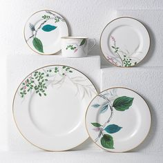Shop the Lenox Kate Spade New York Birch Way Place Setting and other Dinnerware Collections at Kathy Kuo Home Flatware Storage, Blue Fruits, Plate Design, Ceramic Clay, Cup And Saucer Set, Place Settings, Home Decor Accessories, Plates On Wall, Bone China