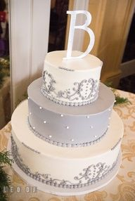 grey wedding cake - love the topper!!