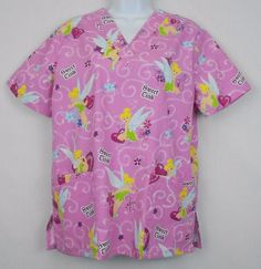 Disney Scrub Top Size S Polyester Blend V-Neck Medical Uniform Tinkerbell Women #Disney