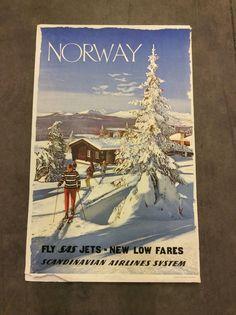 Vintage Travel Tourist Skie SAS Airlines Norway Poster 1960 Original Normann | eBay