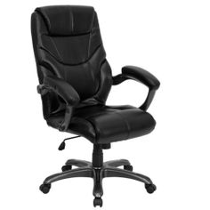 Office chair black leather computer desk overstuffed comfortable
