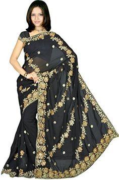 Awesome Women's Wedding Designer Partywear Sequins Embroidery Saree Sari Drape fabric