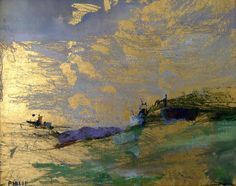 Michelle Philip  Beach Sunrise  23kt gold leaf, oil and encaustic painting