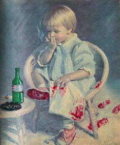 Smoking Baby On Thrift Painting