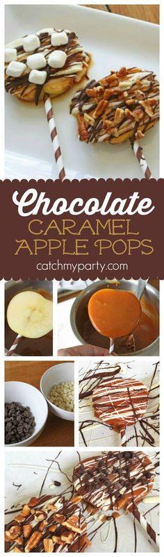 Chocolate Caramel Apple Pops | CatchMyParty.com