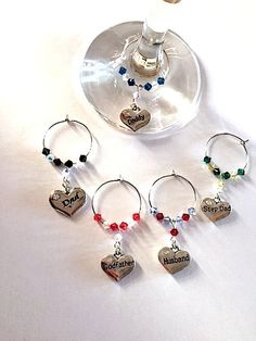 Father's Day Gift's - Wine Glass Charms - Dad, Daddy, Godfather, Stepdad, Husband - Football or Rugby Team colours by Makewithlovecrafts on Etsy Wine Glass Charms, Stocking Fillers, Wine Gifts, Heart Charm, Fathers Day Gifts, Gifts For Him, Swarovski Crystals, Charmed, Colours
