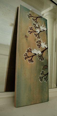 Marshmallow Garden mounted on wood. $60