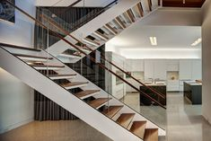 Staircase Photos Interior Stairs Design, Pictures, Remodel, Decor and Ideas U Shaped Staircase, Open Staircase, Modular Staircase, Staircase Railings, Staircase Ideas, Stair Treads, Glass Stairs, Floating Stairs, Glass Railing