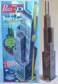 wrebbit 3d puzzle Sears Tower now Willis Tower in Chicago w/ 532 pcs