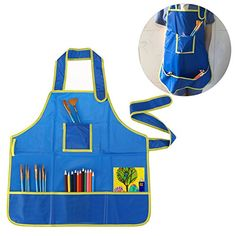 Foxnovo Children Kids Waterproof Art Craft Apron Smock for DIY Painting Drawing (Blue) * Learn more @