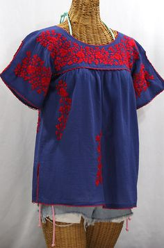 """""""La Lijera"""" Embroidered Peasant Blouse Mexican Style -Denim Blue + Red Embroidery"""