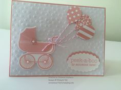 handmade baby card ... pink and white ... buggy with a bouquet of balloons attached ... Stampin' Up!