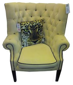 1970s Button-Back lemon & black library chair.
